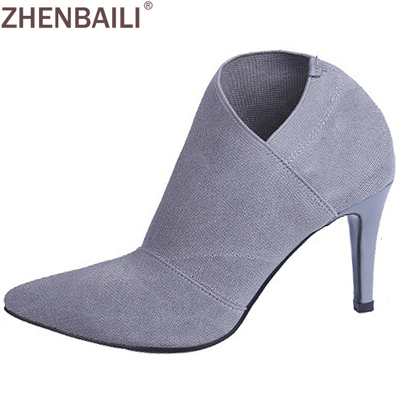 High Quality 2017 New Spring and Autumn Fashion Womens High Heeled Short Boots Solid Color Pointed Ankle Boots
