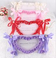 Artificielle Rose Fleur Photo Cadre Avec Ruban De Mariage Réception Table Place Décoration Pour la Fête De Mariage de Valentine Jour