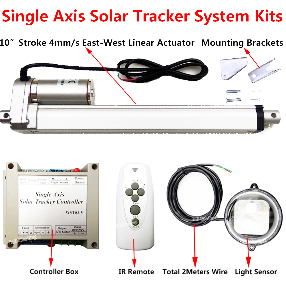 Complete Kit Single Axis Solar Tracking System 250mm 10inch Linear Tracker Controller Actuator Electronic Remote Sunlight In Dc Motor From Home