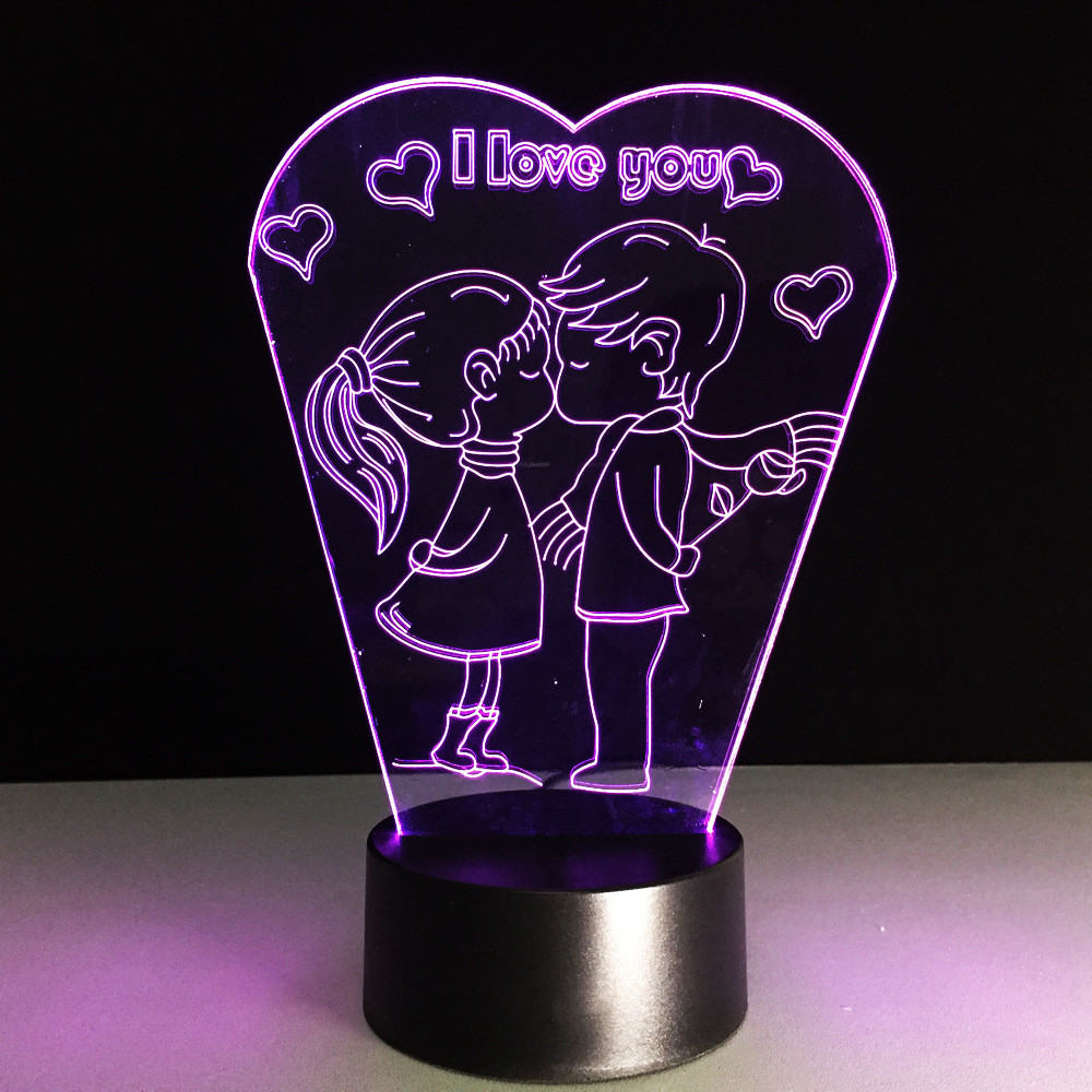 2019 Fashion Romantic I Love You 3d Led Lamp Sleep Night Light Boy Kiss Girl Table Bedroom Beside Decor Girlfriend Lover Gifts Light Fixture Professional Design