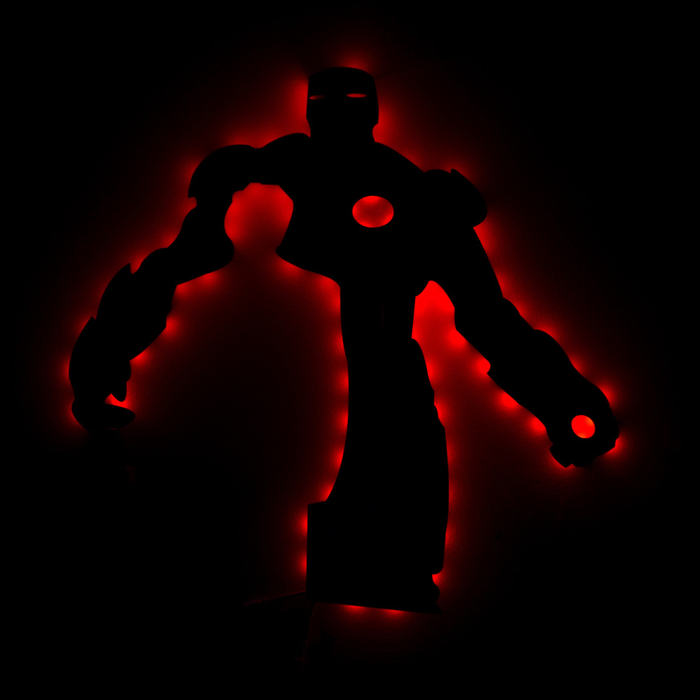 Ironman 3D Led Wall Lamp Night Light Ironman Mark Creative Color Changing Action Figure Lighting Toy For Kids creative 3d visual color changing led touching night light