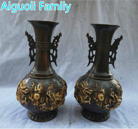 Home Decorations Vase Crafts /Art Collection 1 Pair Chinese Old Bronze Gilt Handmade 2 Dragon Big Vase