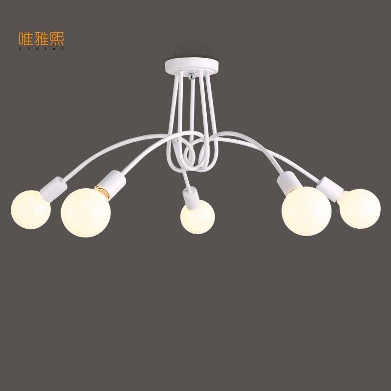 Veayas white/black/blue Free shipping Simple Creative Black & white E27 ceiling lamp vintage modern brief led chandelier light free shipping white black 100