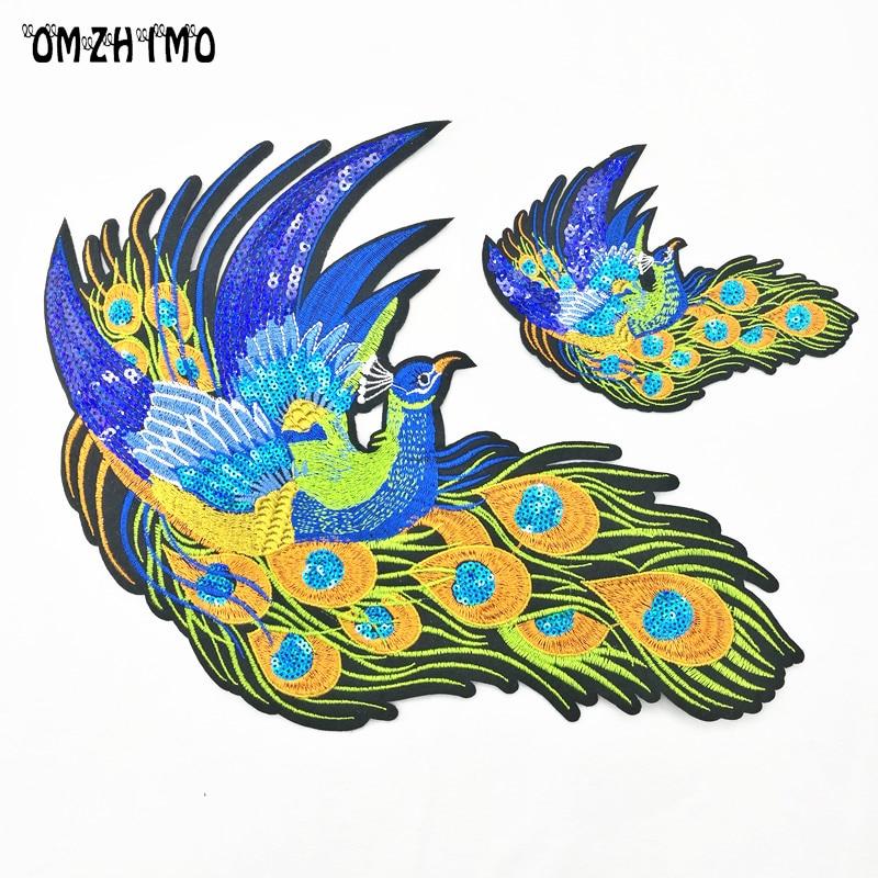 2 sztuk Peacock Sequined Łaty do Odzieży Szycia na phoenix odzieży - Sztuka, rękodzieło i szycie - Zdjęcie 1