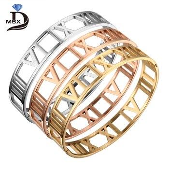 85899af9d075 Brazalete pulseras brazaletes para mujer 12mm números romanos de acero  inoxidable brazalete chapado en oro mujer hombre joyería pulsera regalo