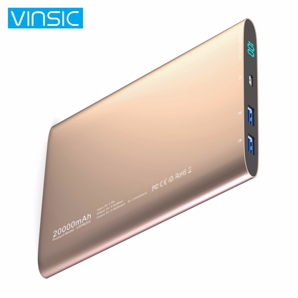 VINSIC Ultra Mince 20000 mah Banque de Puissance LCD Affichage Externe Batterie Chargeur Alimentation pour Smartphones