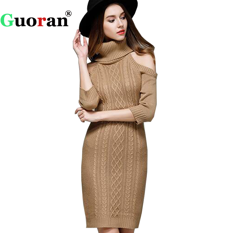 {Guoran} 2017 New Women Long Knitted Dresses Off Shoulder Sexy Slim Bodycon Sweater dress Vestidos Auntumn Winter Party Dress rocksir sexy off shoulder bodycon dress women pearl v neck knitted dress spring backless sashes sweater party dresses vestidos