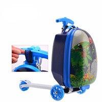 BeaSumore Children Rolling Luggage Travel Bag ABS Skateboard Cute Cartoon School Bag Kids Suitcase Wheels Student Cabin Trolley