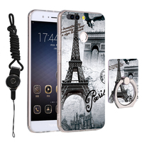 For Huawei Honor 8 Pro Painted TPU Silicone Soft Case Cartoon Cover For Huawei Honor V9 Phone Cases With Lanyard And Ring Stand
