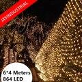 Светодиодные сетчатые светильники 860 светодиодов  веб-гирлянды  6 м x 4 м  220 В  штепсельная вилка европейского стандарта  Рождественские огни  ...
