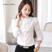Uzun Kollu Gömlek Kadın Puff Kol Şifon Bayanlar Moda Ofis Gömlek Kadın Tops ve Bluz Yeni Artı Boyutu