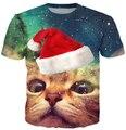 Free shipping women/men cat Christmas Cap space galaxy t shirt Cartoon 3d Tee New Fashion Summer t shirts