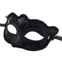 10Pcs/lot Black Halloween Masquerade Beautiful Painted Makeup Ball Half Face Fox Mask  For Women