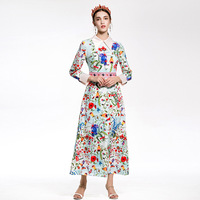 New 2018 Spring Runway Maxi Dress European Womens Dresses Elegant Long Sleeve Turn Down Collar Floral
