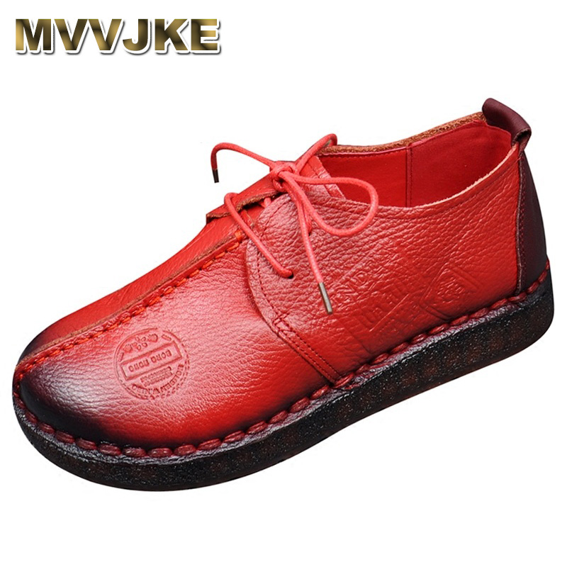 MVVJKE Fashion Retro Hand Sewing Shoes Women Flats Genuine Leather Soft Bottom Women Shoes Soft Comfortable Casual Shoes