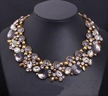 2016 Европа и большой Хрустальный Цветок ожерелье роскошные короткие ключицы преувеличены старинные женские аксессуары 086