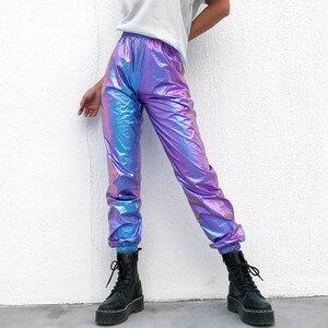 Image 3 - 女性のためのホログラフィックパンツスラックスジョギング女性のためのサイドポケットルーズ反射パンツ新ヒップホップ 2019 新デザイン 4XL