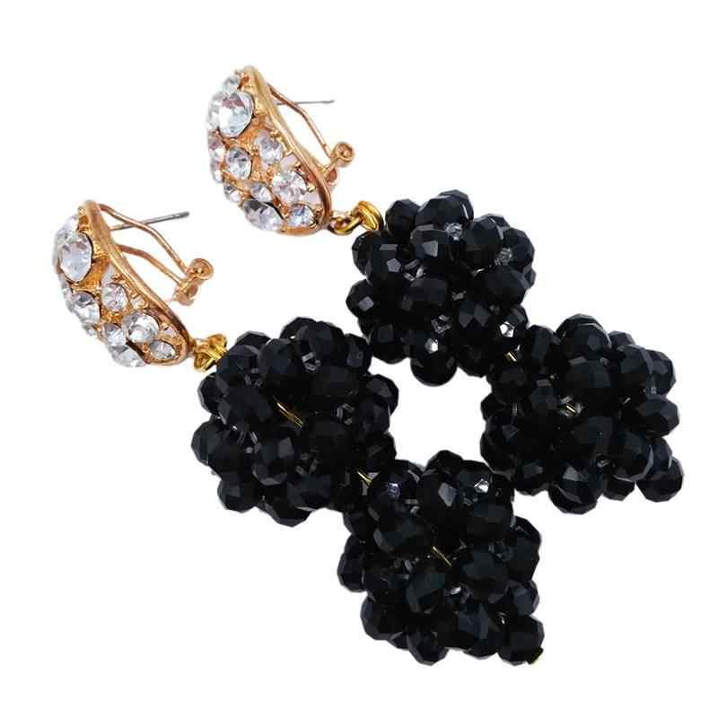 Bardzo popularne czarny kryształ prezent na rocznicę kobiety koraliki naszyjnik zestawy kolczyków 6C-SPH-03