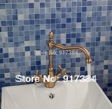 Античная латунь двойные ручки красивые Ванная комната смеситель раковина из нержавейки Красный Бронзовый Кран JN8632-2