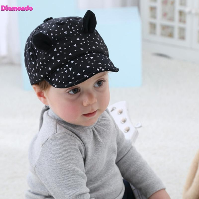 Spring Autumn Fashion Baby Hat Cute Cartoon Cat Ears Design Kids Baby Boys Girls Cotton Printed Baseball Cap Children Sun Hat
