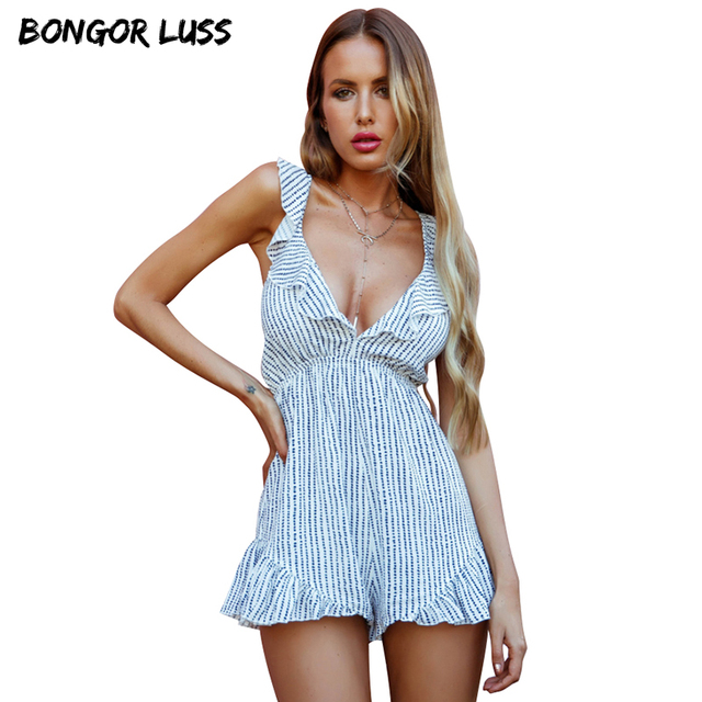 f32af778a16 BONGOR LUSS Women Summer Romper Shorts Deep V Neck Sleeveless Backless Sexy  Blue White Striped Ruffle Playsuits And Jumpsuits