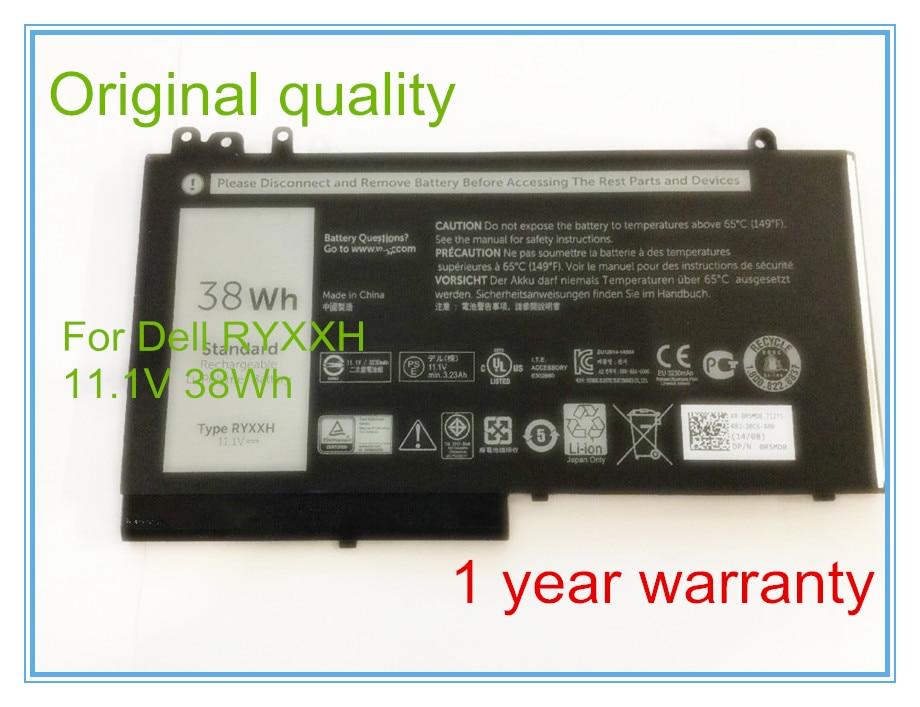 11.1V 38WH Original New Laptop Battery For 12 5000 E5250 RYXXH Battery Bateria