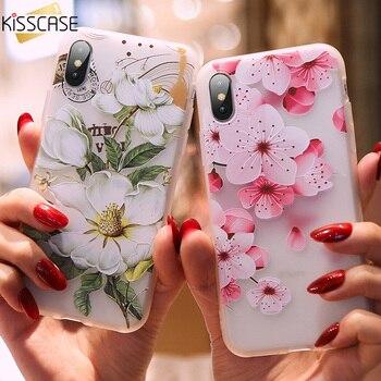 KISSCASE 3D alivio de la caja del teléfono para iPhone 5 y 5s SE suave funda de silicona para iPhone X XS X XR XS Max para iPhone 7 7 plus 6 S 6 Fundas
