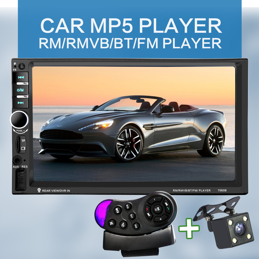 7060B 7-цалевы TFT-экран Bluetooth Car Audio Stereo MP4-плэер 12V Auto Падтрымка AUX FM Падтрымка MMC USB SD 2-Din для JPEG, WMA, МР5