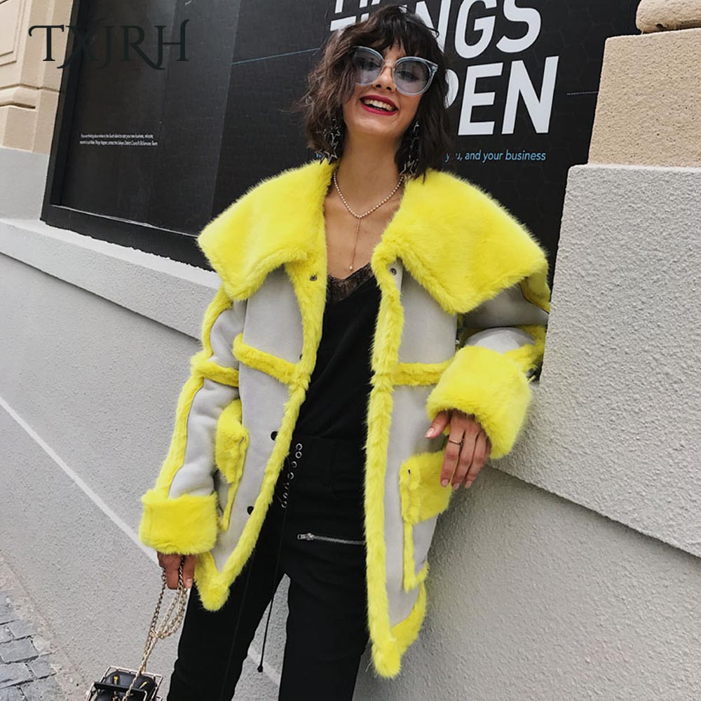 TXJRH Stylish Winter Hairy Shaggy Faux Fur Spliced Fuax Suede Lapel Faux Fur Neon Yellow Warm Coat Loose Mid Long Outerwear Tops цена