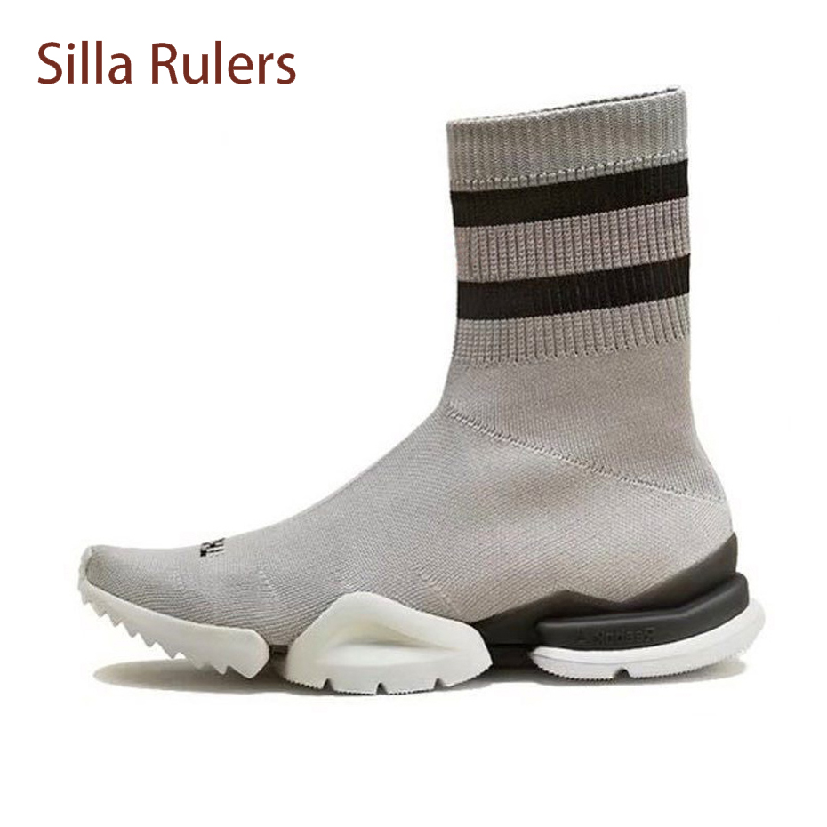Silla Rulers fashion stripe knitted elastic socks ankle boots thick bottom comfortable wool flats women shoes short boots female gaozze fashion women socks boots mid calf thick high heels boots women comfortable elastic knitted fabric female boots brand