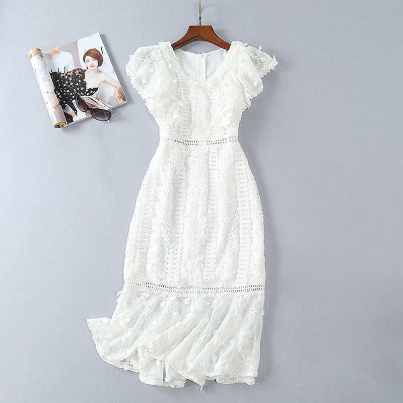 HIGH QUALITY New Fashion 2018 Designer Runway Dress Women's Butterfly Sleeve V-neck Lace Dress