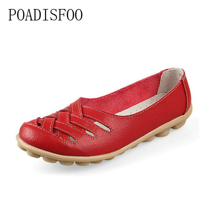 2017 Genuine leather Women Cow Flats Dichotomanthes bottom shoes Nurse Driver shoes for women casual shoes .CQY-1199