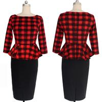 Autumn Plaid Dresses Three Quarter Sleeve Slim Elegant O Neck Wrap Pencil Dress Knee Length Plus