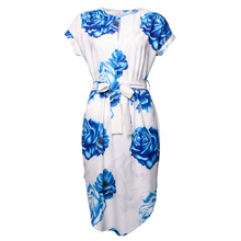 Womail Spring Fashion Printed V-Neck Dress Sexy Women's Dresses Belt Clothing for Women Asymmetrical Dresses 2018