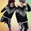 Nuevos Muchachos de Las Muchachas de Impresión Negro Salón de Baile Jazz Hip Hop Danza Moderna Trajes de Competencia Set Kids Dancewear Ropa de Baile Pantalones