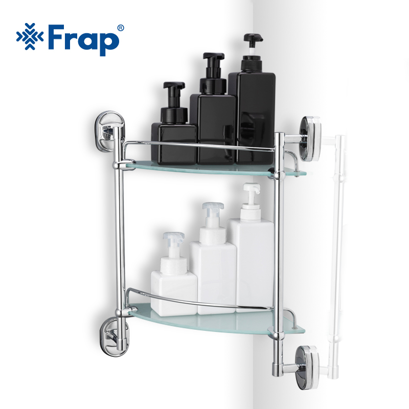 Frap 1 Set Retro Style wall mounted Bathroom Accessories With Glass double Tier Bath Shelf Shampoo Basket Cup Holder F1907-2