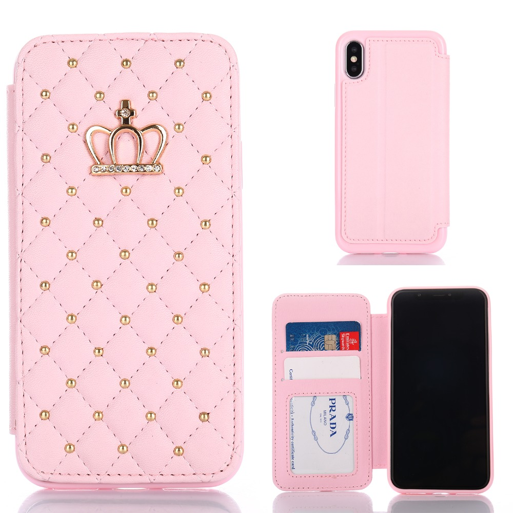 98e6b68f4caf Leather Wallet Card Flip Cover For iPhone 6 6S 7 8 Plus Luxury Crown flash  drill