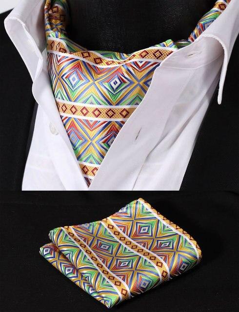 a1dfec8b4c46e RC303G Green Yellow Check Silk Cravat Woven Ascot Tie Pocket Square  Handkerchief Suit Set