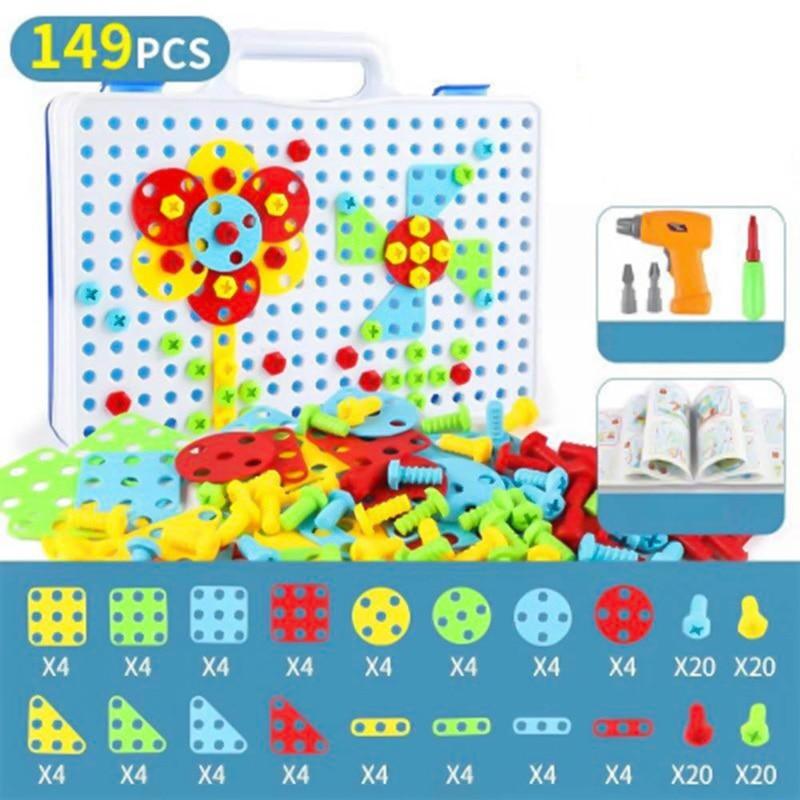 Children Toys Drill Puzzle Educational Toys DIY Screw Group Toys KidsTool Kit Plastic Boy Jigsaw Mosaic Design Building Toy