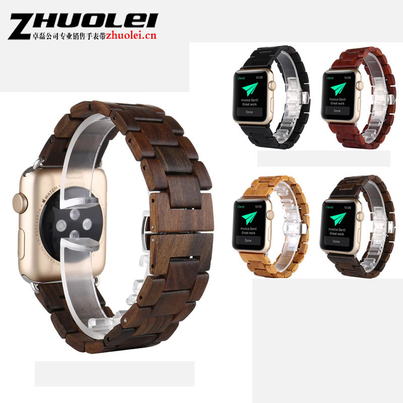 High quality 100% Natural Ebony Wooden WatchBand For Apple iWatch Strap Wood Watch Bands with Adaptor fit Apple Watch 42mm