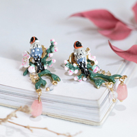 New Product Enamel Glaze Romantic Cherry Blossoms Birdie Earring 925 Silver Needle Prevent Allergy Gold Woman Jewelry