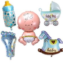 5pcs/lot cute fun baby shower boys girls helium foil balloons stroller balls action figures kids toys party birthday gifts