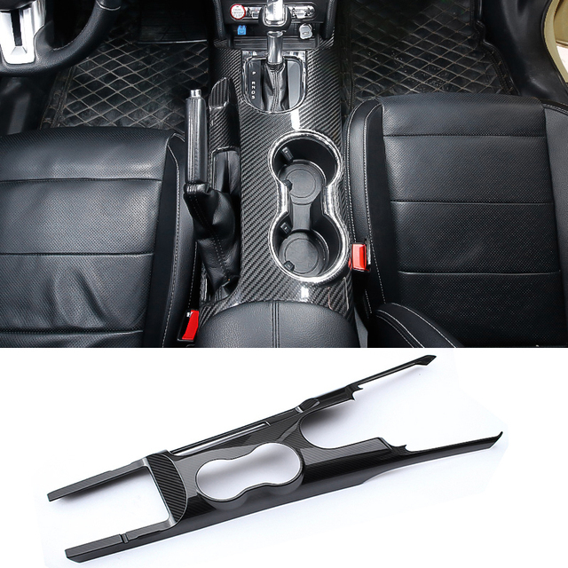 QHCP de fibra de carbono Real de Control de cambio de engranaje de Panel de agua taza de titular de la etiqueta engomada para Ford Mustang 2015 de 2016 a 2017 2018