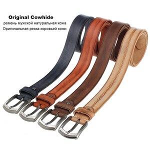 Image 5 - Natural cowhide belt for mens hard metal buckle soft original cowhide mens leather belt unique texture real leather jeans belt