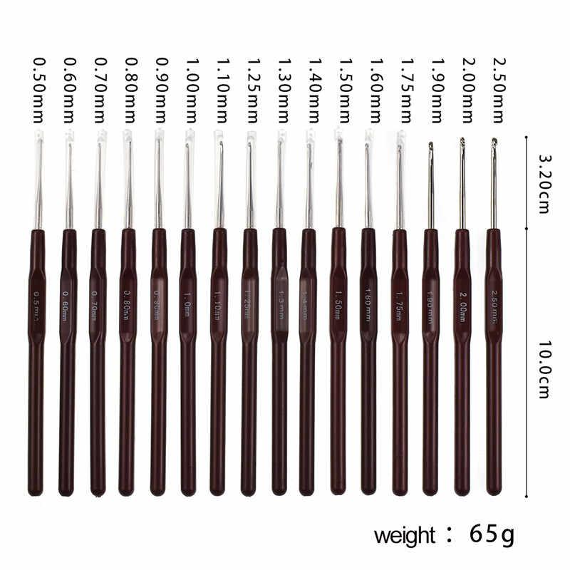 1 шт. 0,5 мм-2,5 мм крючок для вязания крючком смешанный маленький размер вплетать в пряжу спицы для куклы с кружевами DIY инструменты 16 размер s крючки для вязания