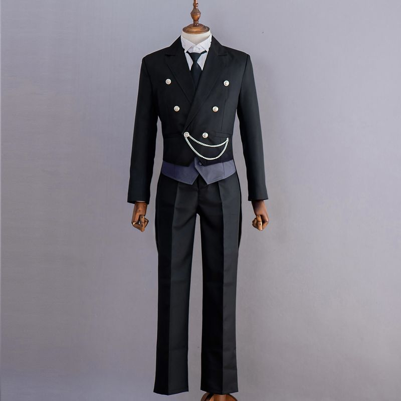 Image 3 - New Anime Black Butler Kuroshitsuji Sebastian Michaelis Cosplay Costume Black Uniform Outfit Halloween Costumes for Women Men-in Anime Costumes from Novelty & Special Use