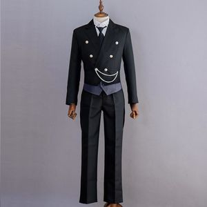 Image 3 - New Anime Black Butler Kuroshitsuji Sebastian Michaelis Cosplay Costume Black Uniform Outfit Halloween Costumes for Women Men