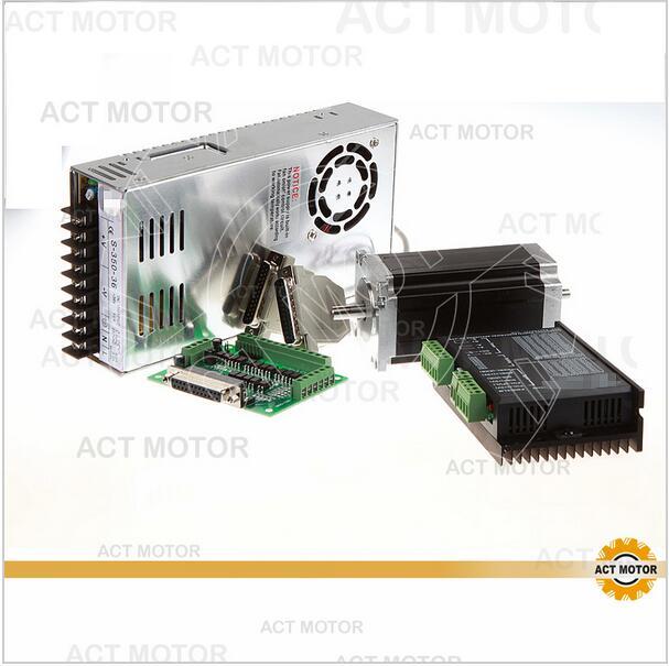 ACT Motor 1Axis Nema23 Stepper Motor Dual Shaft 23HS2430B 425oz-in 3A 4Leads Bipolar+Driver DM542 128Micro Engraving Laser Cut