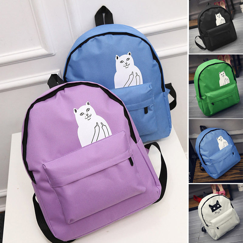 2016 Casual Women Canvas Backpacks for Teenage Girls School Bags Cartoon Cat Backpack Female Travel Bag mochila rucksack