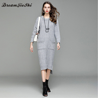 Dreamjieshi 2017 mode Herfst Winter Vrouwen Warm gebreide Trui Jurk truien Twist Bloemen Breien Mid-Kalf Lange Jurken